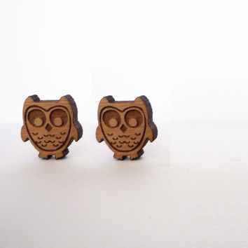 Owls Stud Earrings by VectorCloud on Etsy