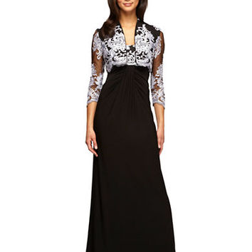 Alex Evenings Lace Trimmed Gown and Bolero Set