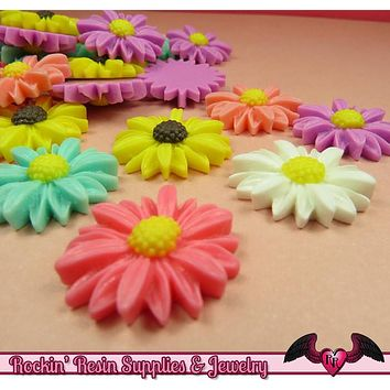 6 pcs Large DAISY Flower Resin Flatback Cabochon 26mm