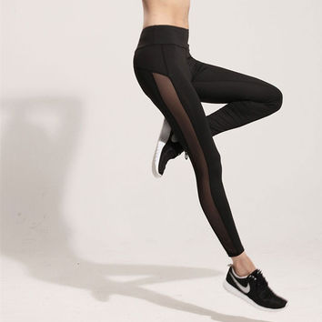 Fashion Casual Perspective Gauze Stitching Stretch Sports Yoga Leggings Pants Trousers Sweatpants