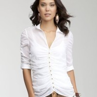 Allover Ruched Silk Blouse - WEB EXCLUSIVE