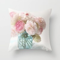 pink roses in blue jar Throw Pillow by sylviacookphotography