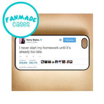Homework Tweet iPhone 4/4s/5/5s/5c/6/6 Plus, iPod 4/5, Samsung Galaxy s3/s4/s5 Rubber Case by FanMadeCases