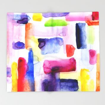 Color Block Throw Blanket by Miss L In Art