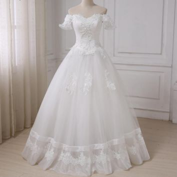 Princess Wedding Dress Sweetheart Beading Sequins Applique Tulle A-line Bridal Gowns
