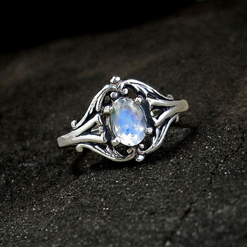 Moonstone Ring: Sterling Silver and Rainbow Moonstone - blue flash, faceted oval, antique setting, renaissance ring, victorian
