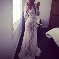 New 2016 Women Sexy White Lace Embroidery Long Maxi Dress Party Long Sleeve Deep V Neck See Through Vestidos Plus Size S-XL W1