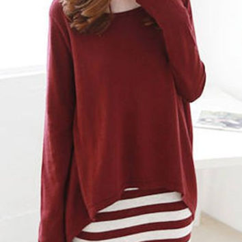 Wine Red Long Sleeve Blouse and Striped Sundress Twinset