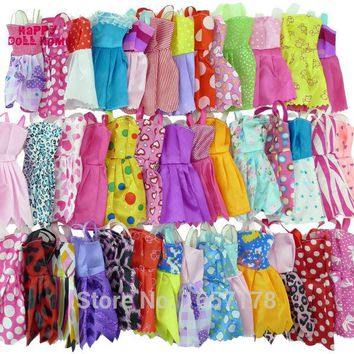 Random 12 Mix Sorts Beautiful Handmade Party Dress Fashion Clothes For Barbie Doll Kids Toys Gift Play House Dressing Up Costume