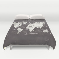 The World Map Duvet Cover by Mike Koubou