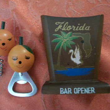 Cork Screw Bottle Opener Florida Oranges Travel Souvenir Home Bar Tools Set  Vintage 1960's Kitsch