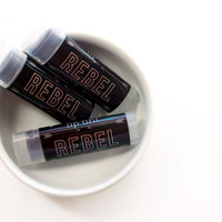 REBEL / All Natural Tinted Lip Balm -- Choose Your Flavor -- Deep, Deep Redish Black / Gifts for Her