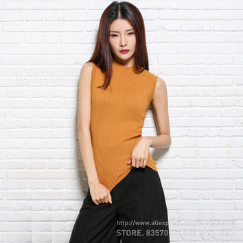 New 2016 Women's 30% Cashmere Sleeveless Sweater Rib O-neck Knitted Vest Pullover Multi Base pure cashmere sweater for women