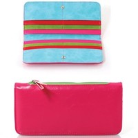 Women's Soft Leatherette Striped Colored Pockets Rainbow Wallet