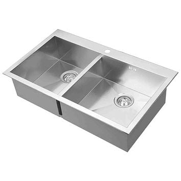 DAX-AT860 / DAX HANDMADE DOUBLE BOWL TOP MOUNT KITCHEN SINK, 18 GAUGE STAINLESS STEEL, BRUSHED FINISH