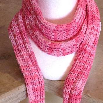 Pink Ombré Breast Cancer Awareness Knitted a Winter Fashion Scarf