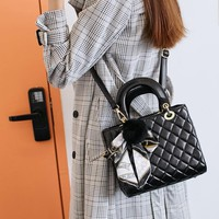 Women Simple Fashion Rhombus Grid Handbag Single Shoulder Messenger Bag