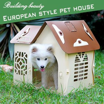 KIMHOME PET Dog House For Small Dogs All Seasons Removable Clean Nordic Architectural Style Dog Bed For Medium Large Dogs Cats