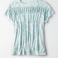 AE Soft & Sexy Macrame Front T-Shirt, Mint