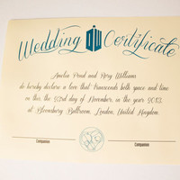 Doctor Who Inspired Wedding Certificate - Customized PDF FILE - A4 or Letter Size