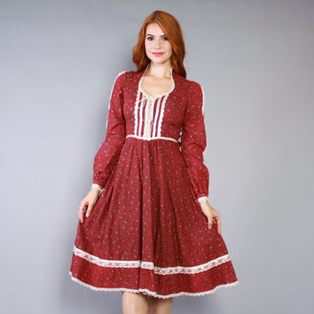 70s GUNNE SAX Corset Midi DRESS / 1970s Burgundy Calico Floral Polka Dot Prairie Dress xs - s
