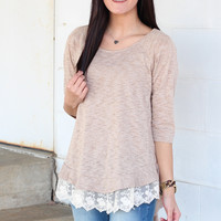 Hi-Lo Lace Ruffle Top {Latte}