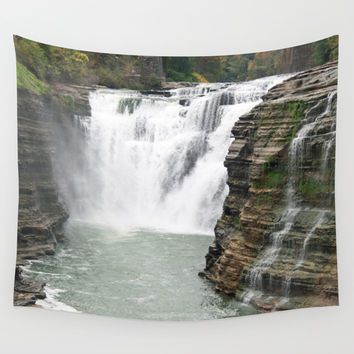 Letchworth Upper Falls Wall Tapestry by Rebekah Joan