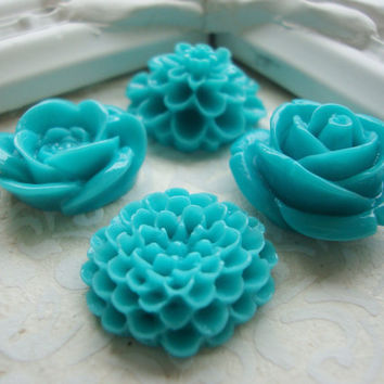 Turquoise Blue Flower Magnets, Decorative Magnets, Floral, Kitchen Fridge Magnets, Home Office, Magnet Board, Rare Earth, Neodymium
