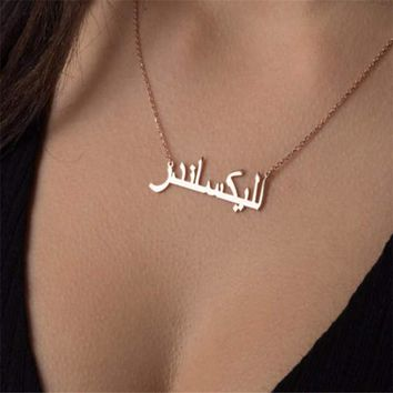 QIAMNI Personalized Custom Hand Signature Arabic Name Necklace Couple Pendant for Women Men Love Birthday Gift Islamic Jewelry