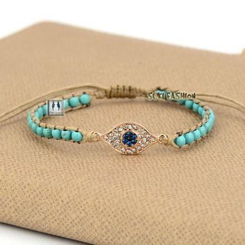 Evil Eye Turquoise Bead Bracelet-In Stock