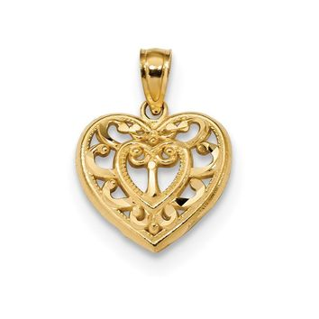 14k Yellow Gold Filigree Heart Pendant, 14mm