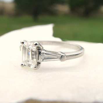 Vintage Emerald Cut Diamond Engagement Ring, Superb F Color VVS2 Diamonds, .93 carats, Birks of Canada, GIA Appraisal and Sizing Included