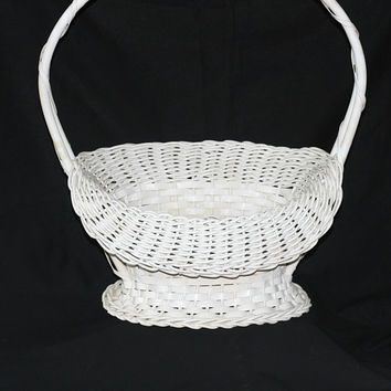 Vintage Funeral Basket | Flower Basket with Wood Bottom | Old Wicker Basket with Folded Front | No Loose Wicker