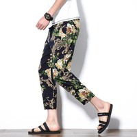 2017 New Spring Mens Casual Drawstring Floral Joggers Hawaii beach pants Cotton 9 minutes pants Sweatpants Size M-5XL