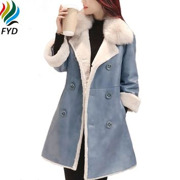 Blue Winter Women Parkas New 2017 Korean Fashion Thickening Lamb Wool Jackets Solid Long Faux Suede Leather Woman Clothes Z573