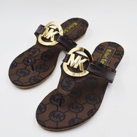MICHAEL KORS MK Women new fashion more letter flip-flops slippers sandals flat shoes Coffee