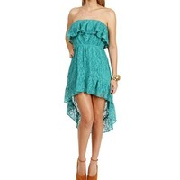 Mint Lace Ruffled Hi-Low Dresses