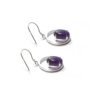 Amethyst Earrings , Genuine  Sterling Silver Amethyst  Earrings , Gift For Her