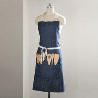 Hemp Denim Maker's Apron + Bamboo Tools