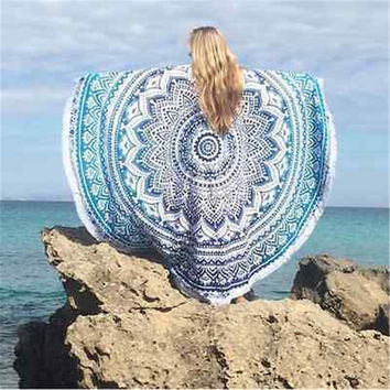 Indian Round Mandala Tapestry Wall Hanging Throw Towel Beach