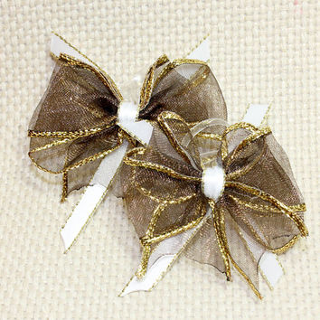 Brown and Gold Dog Hair Bow. Brown Organza Ribbon with Gold Trim.  White Satin Ribbon With Gold Trim and Two Hair Elastics for Small Dog