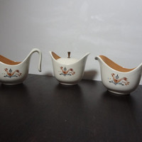 "Vintage Rare Taylor Smith & Taylor ""Weathervane"" Ceramic Creamer Pitcher, Sugar Bowl and Gravy Boat Set"