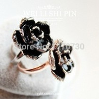 Free Shipping $10 (mix order) 2016 New Fashion Vintage Accessories Rhinestone Black Rose Open Women Water Ring  Jewelry 5g R055