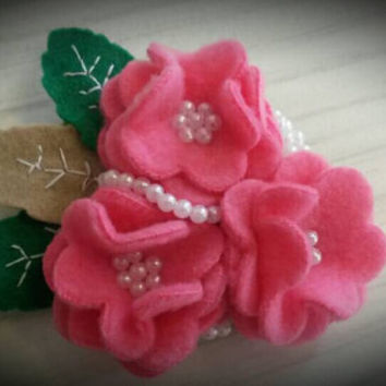 Girlie pink shabby chic beaded flower hair slide and brooch fascinator great for Wedding hair Bridal accessories and Christenings etc