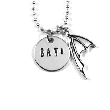 Bat! Hand Stamped What We Do In The Shadows Aluminum Necklace with Bat Wing Charm