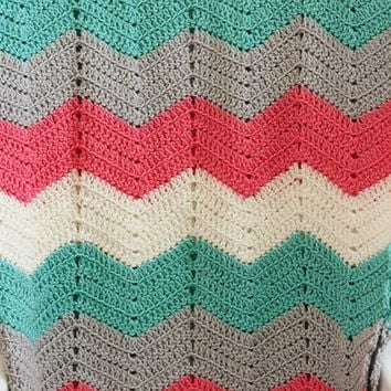 Handmade Chevron Crochet Blanket (Gray, White, Peach, Teal)