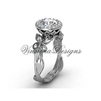 "14kt white gold butterfly, leaf and vine engagement ring, ""Forever One"" Moissanite VF301020"