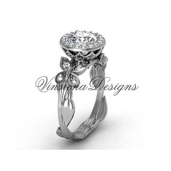 14kt white gold butterfly, leaf and vine engagement ring VF301020