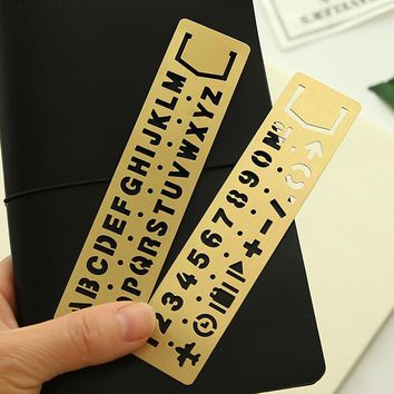 13cm Brass Cutout DIY Drawing Template Figures and Letters Cutout Graffiti Ruler Bookmark for Diary Scrapbooking Notebook Agenda