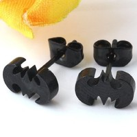 Angel Stars Punk Unisex Batman Bat Man Male Women's Stainless Steel Stud Earring Needle Ear - Black Color